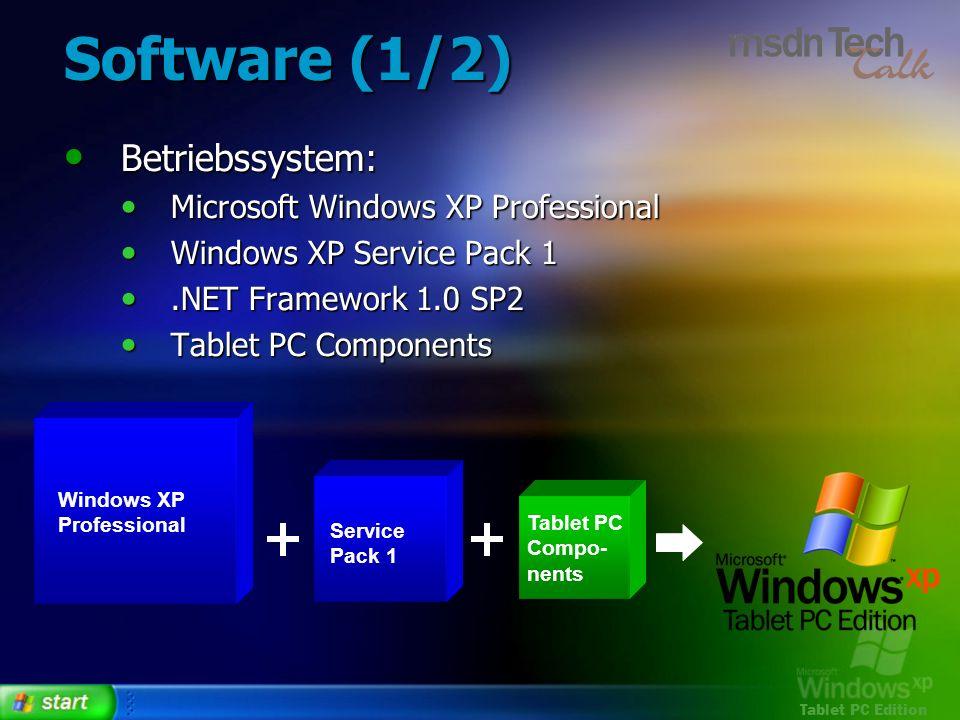 Tablet PC Edition Software (1/2) Betriebssystem: Betriebssystem: Microsoft Windows XP Professional Microsoft Windows XP Professional Windows XP Servic