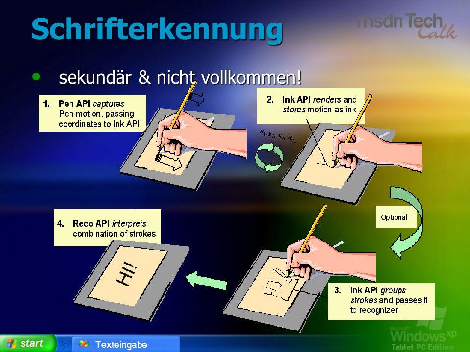 Tablet PC Edition Schrifterkennung sekundär & nicht vollkommen! sekundär & nicht vollkommen! Texteingabe