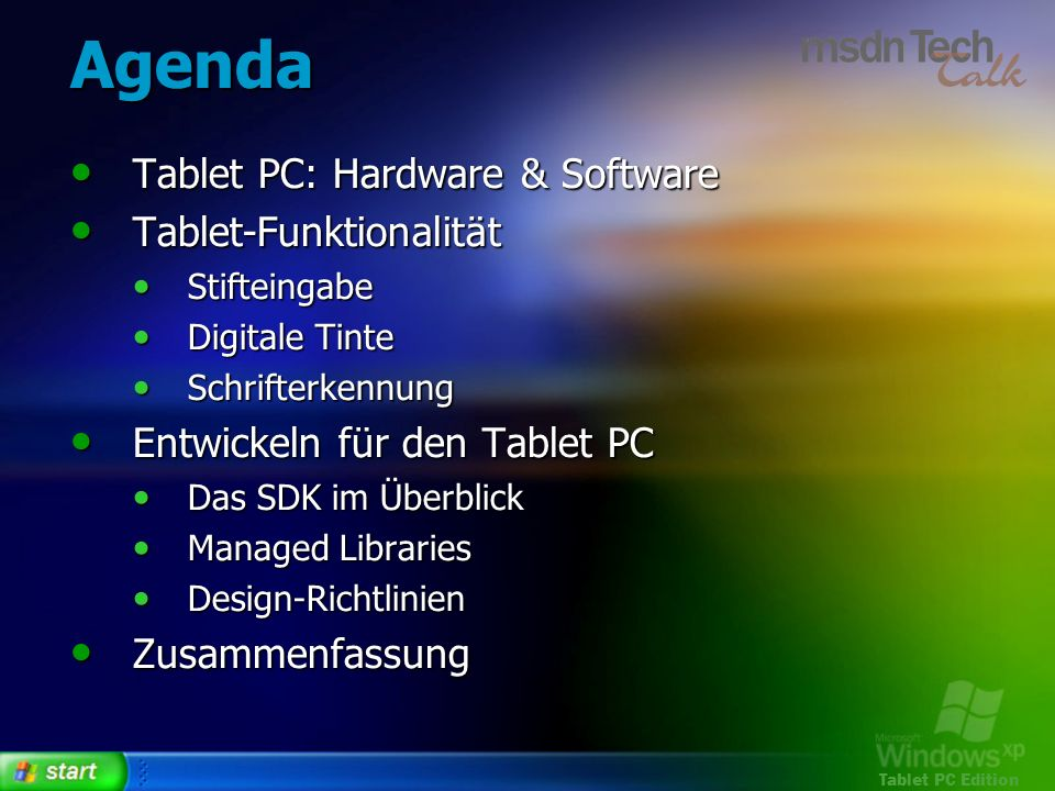 Tablet PC Edition Das SDK im Überblick