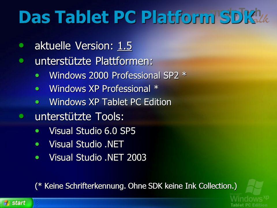 Tablet PC Edition Das Tablet PC Platform SDK aktuelle Version: 1.5 aktuelle Version: 1.5 unterstützte Plattformen: unterstützte Plattformen: Windows 2