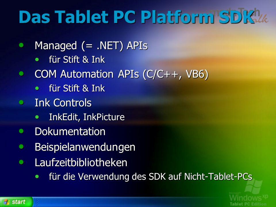 Tablet PC Edition Das Tablet PC Platform SDK Managed (=.NET) APIs Managed (=.NET) APIs für Stift & Ink für Stift & Ink COM Automation APIs (C/C++, VB6