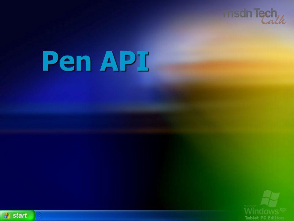 Tablet PC Edition Pen API