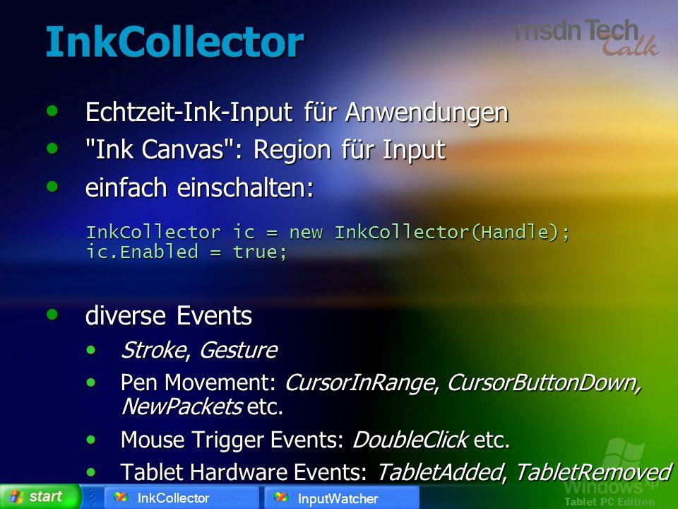 Tablet PC Edition InkCollector Echtzeit-Ink-Input für Anwendungen Echtzeit-Ink-Input für Anwendungen