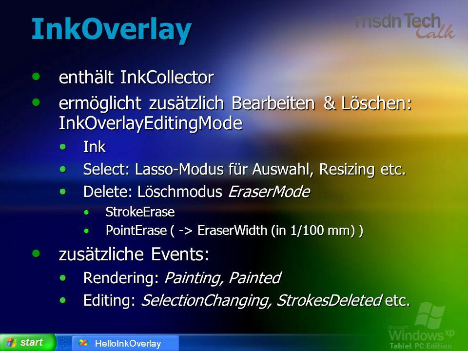 Tablet PC Edition InkOverlay enthält InkCollector enthält InkCollector ermöglicht zusätzlich Bearbeiten & Löschen: InkOverlayEditingMode ermöglicht zu