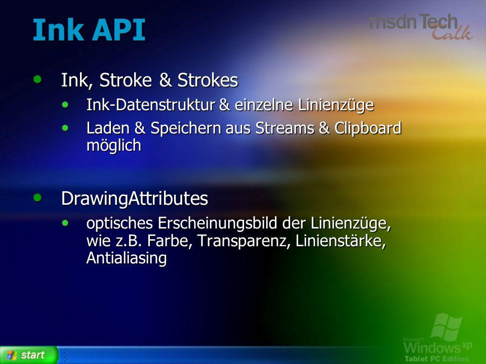 Tablet PC Edition Ink API Ink, Stroke & Strokes Ink, Stroke & Strokes Ink-Datenstruktur & einzelne Linienzüge Ink-Datenstruktur & einzelne Linienzüge