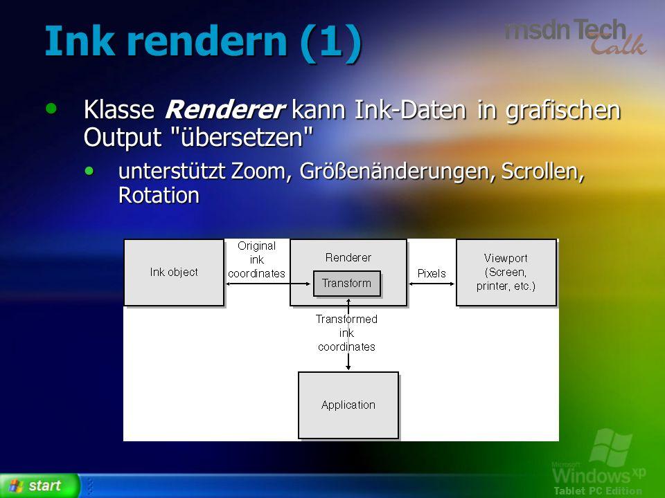 Tablet PC Edition Ink rendern (1) Klasse Renderer kann Ink-Daten in grafischen Output