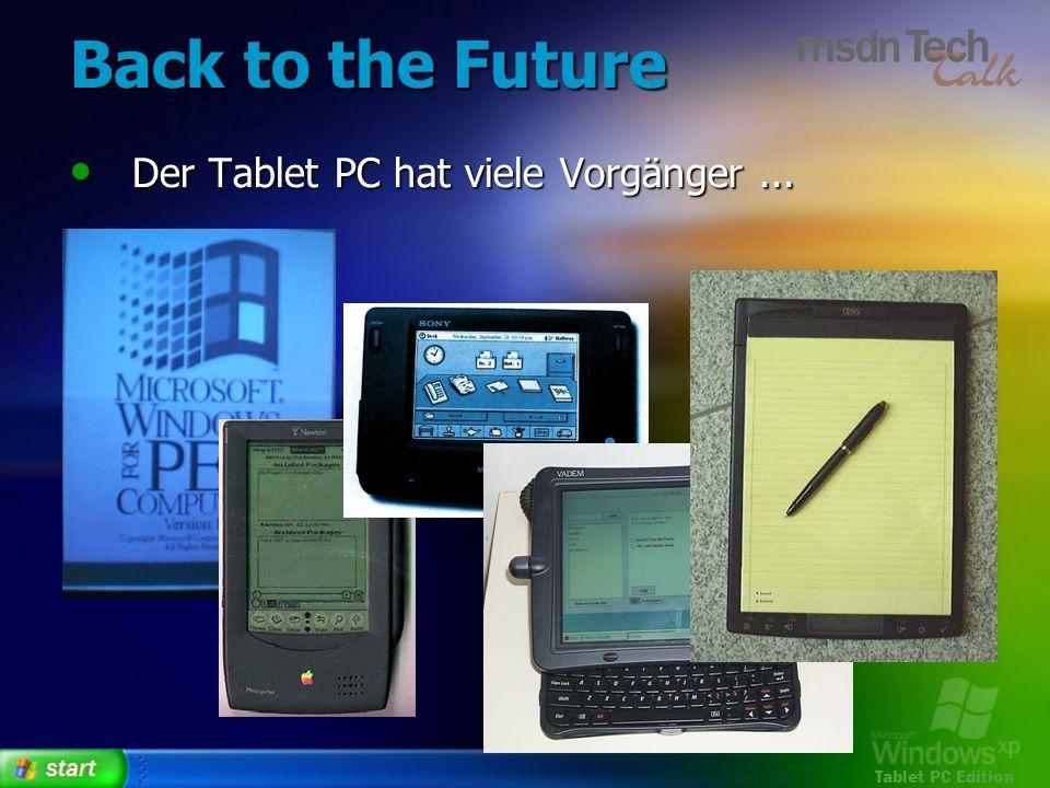 Tablet PC Edition Back to the Future Der Tablet PC hat viele Vorgänger... Der Tablet PC hat viele Vorgänger...
