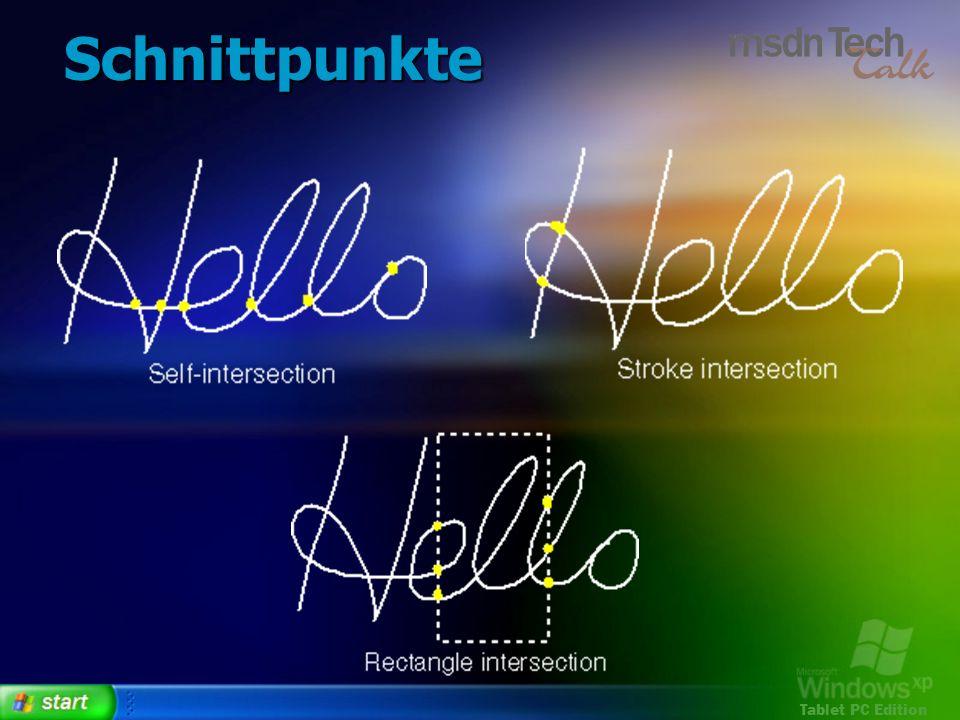 Tablet PC Edition Schnittpunkte
