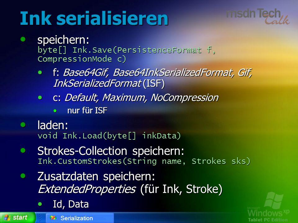 Tablet PC Edition Ink serialisieren speichern: byte[] Ink.Save(PersistenceFormat f, CompressionMode c) speichern: byte[] Ink.Save(PersistenceFormat f,