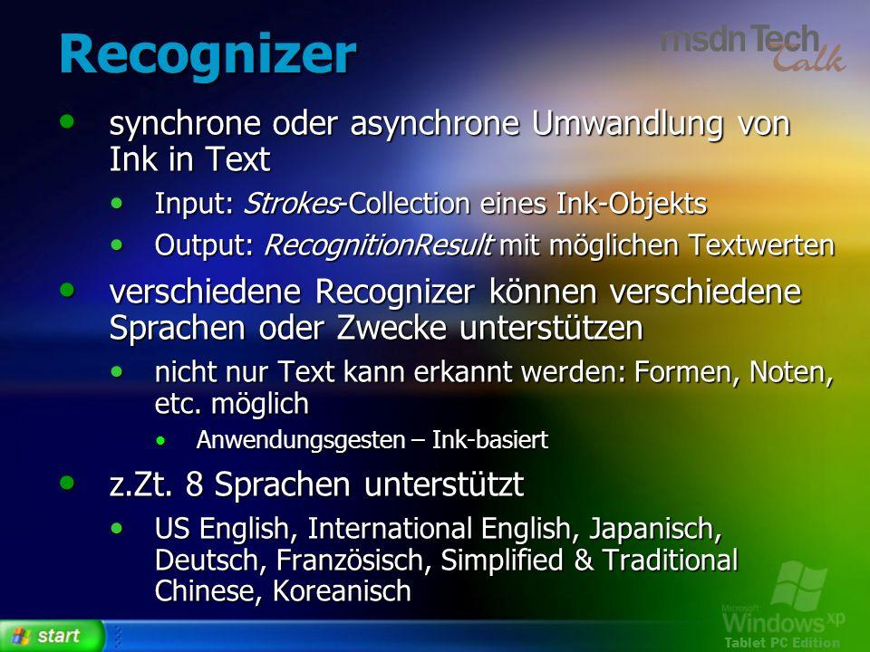 Tablet PC Edition Recognizer synchrone oder asynchrone Umwandlung von Ink in Text synchrone oder asynchrone Umwandlung von Ink in Text Input: Strokes-