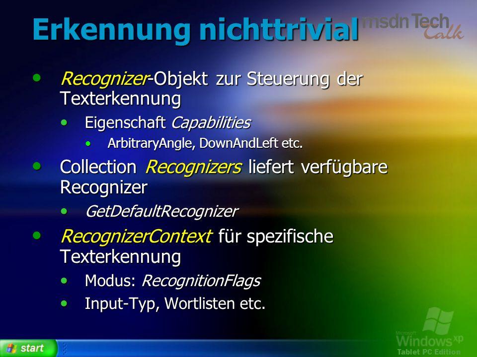 Tablet PC Edition Erkennung nichttrivial Recognizer-Objekt zur Steuerung der Texterkennung Recognizer-Objekt zur Steuerung der Texterkennung Eigenscha