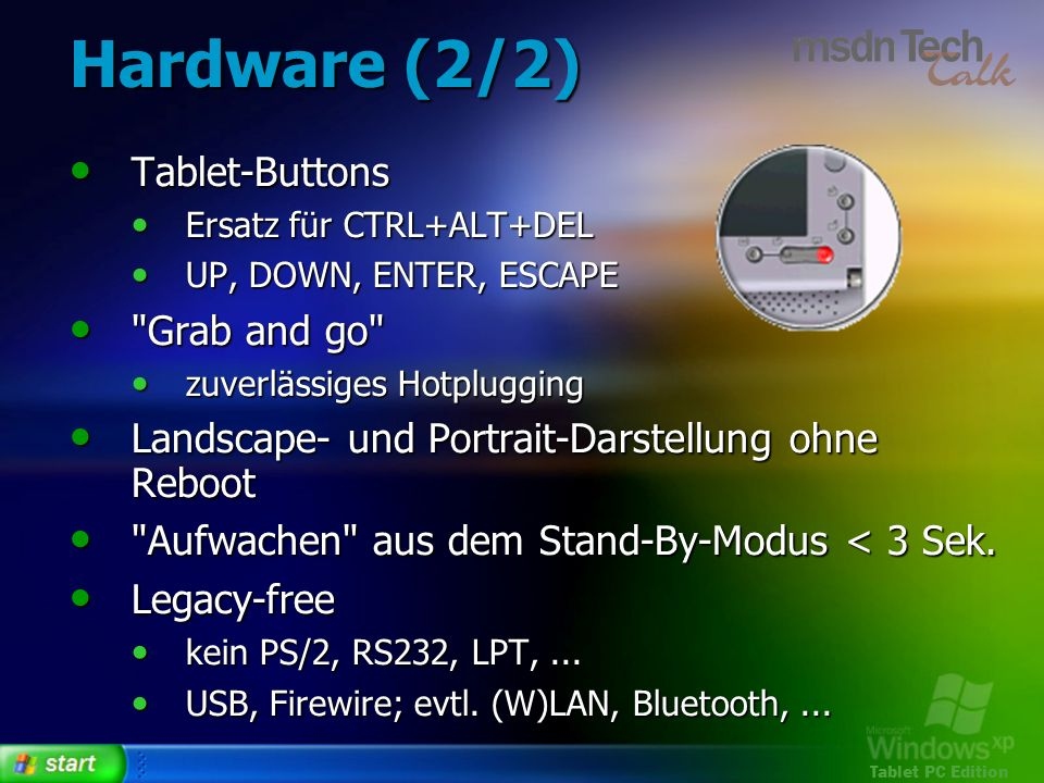 Tablet PC Edition Hardware (2/2) Tablet-Buttons Tablet-Buttons Ersatz für CTRL+ALT+DEL Ersatz für CTRL+ALT+DEL UP, DOWN, ENTER, ESCAPE UP, DOWN, ENTER