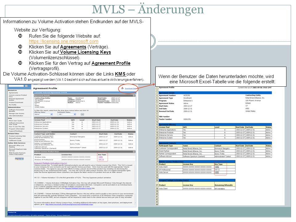 MVLS – Änderungen Informationen zu Volume Activation stehen Endkunden auf der MVLS- Website zur Verfügung: Rufen Sie die folgende Website auf: https:/