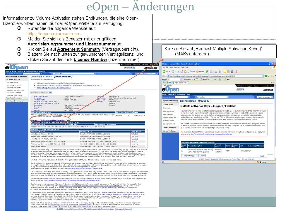 eOpen – Änderungen Informationen zu Volume Activation stehen Endkunden, die eine Open- Lizenz erworben haben, auf der eOpen-Website zur Verfügung: Ruf