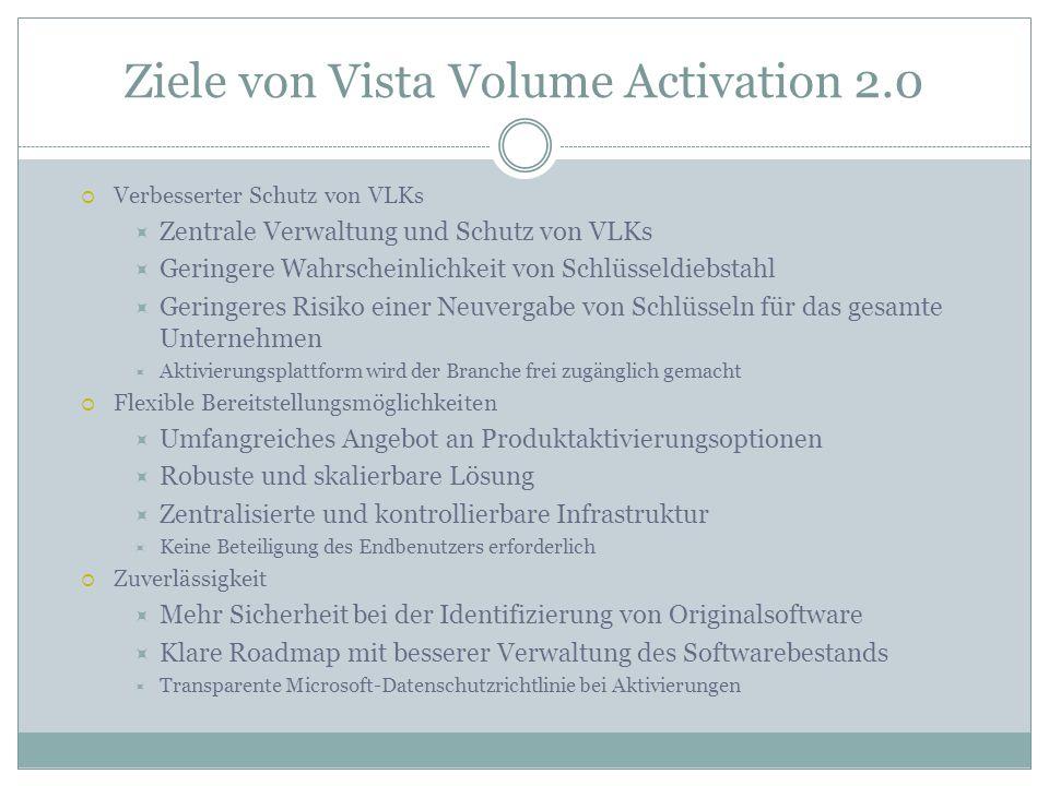 Ziele von Vista Volume Activation 2.0 Verbesserter Schutz von VLKs Zentrale Verwaltung und Schutz von VLKs Geringere Wahrscheinlichkeit von Schlüsseld