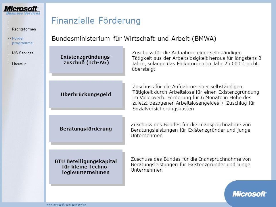 MarketsPrograms www.microsoft.com/germany/isv KfW Mikrodarlehen Darlehen für Gründer, die nur einen geringen Finanzierungsbedarf haben (max.