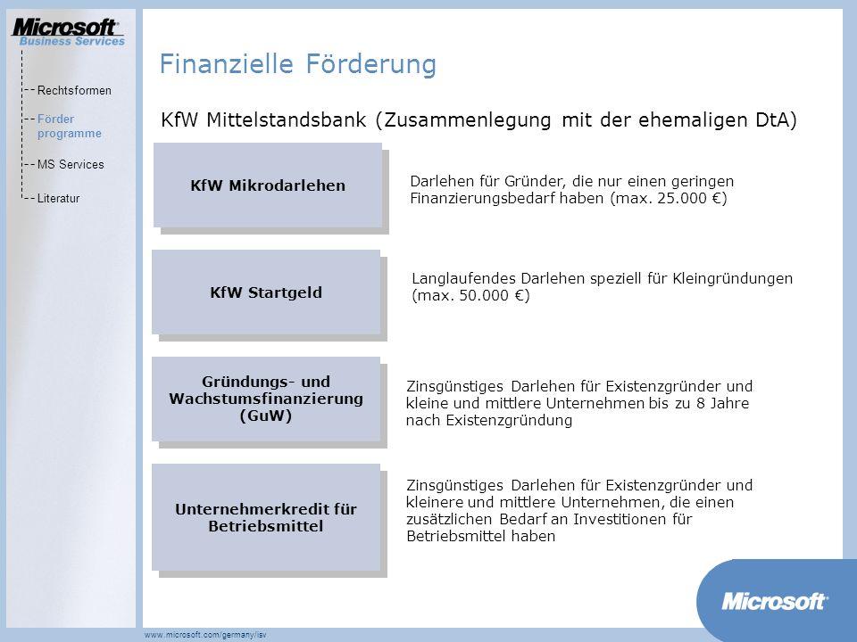 MarketsPrograms www.microsoft.com/germany/isv KfW Mikrodarlehen Darlehen für Gründer, die nur einen geringen Finanzierungsbedarf haben (max. 25.000 )