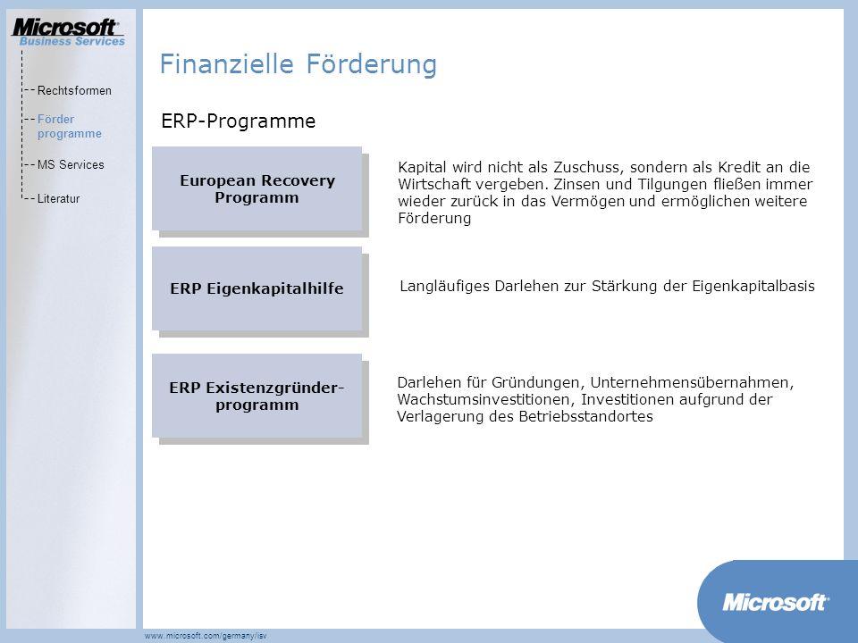 MarketsPrograms www.microsoft.com/germany/isv European Recovery Programm Kapital wird nicht als Zuschuss, sondern als Kredit an die Wirtschaft vergebe