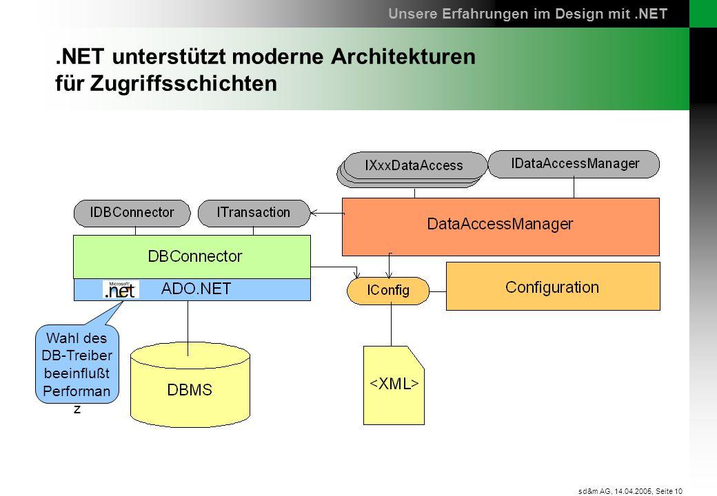 Seite 10 sd&m AG, 14.04.2005,.NET unterstützt moderne Architekturen für Zugriffsschichten Wahl des DB-Treiber beeinflußt Performan z Unsere Erfahrunge