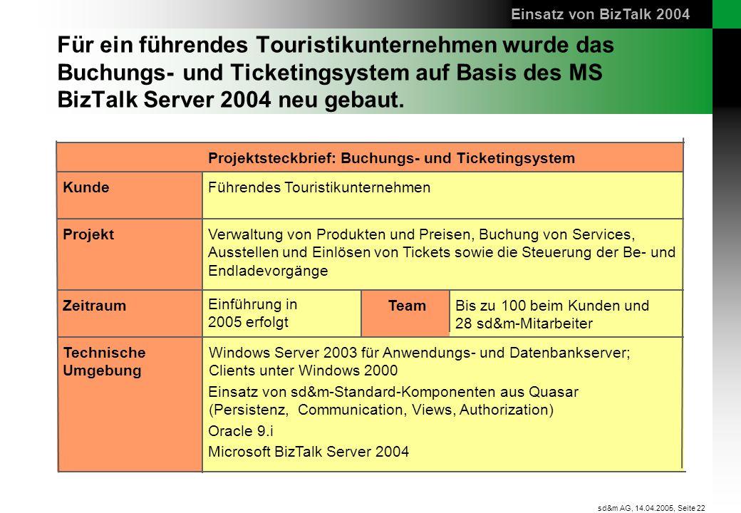 Seite 22 sd&m AG, 14.04.2005, Für ein führendes Touristikunternehmen wurde das Buchungs- und Ticketingsystem auf Basis des MS BizTalk Server 2004 neu