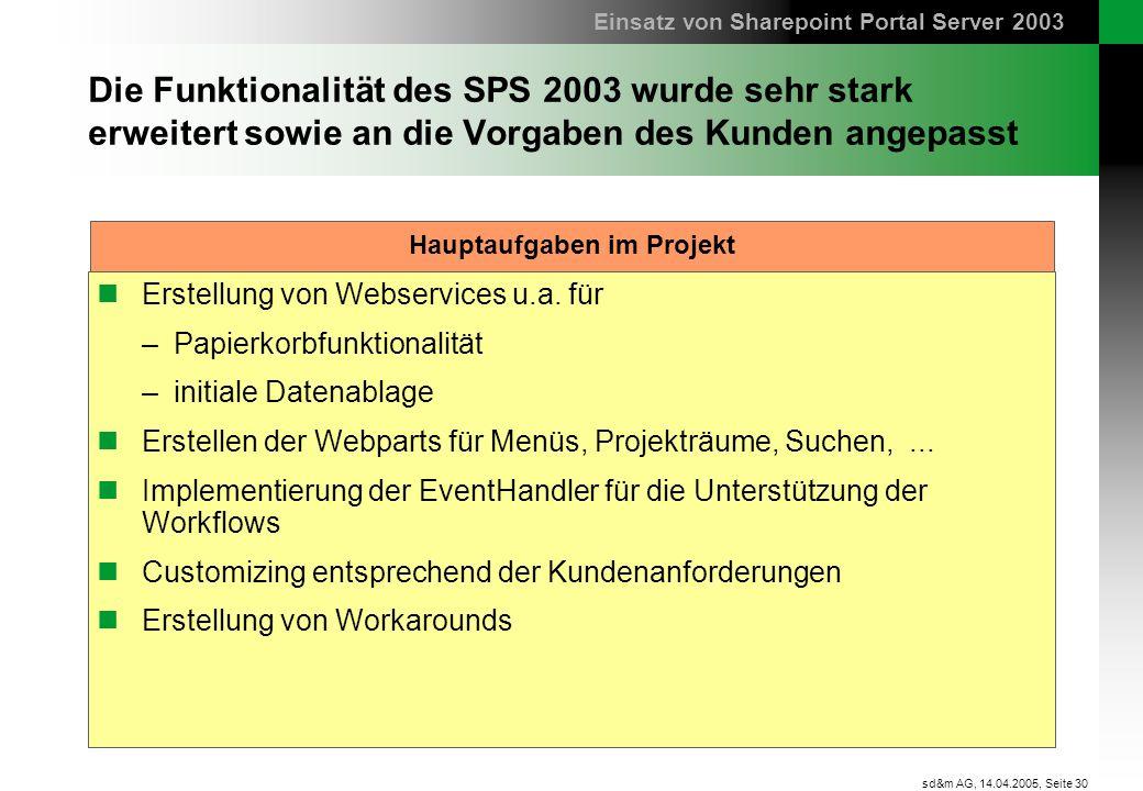Seite 30 sd&m AG, 14.04.2005, Die Funktionalität des SPS 2003 wurde sehr stark erweitert sowie an die Vorgaben des Kunden angepasst Erstellung von Web
