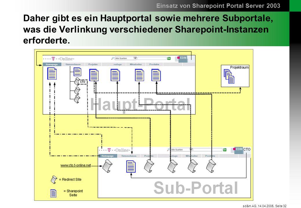 Seite 32 sd&m AG, 14.04.2005, Daher gibt es ein Hauptportal sowie mehrere Subportale, was die Verlinkung verschiedener Sharepoint-Instanzen erforderte