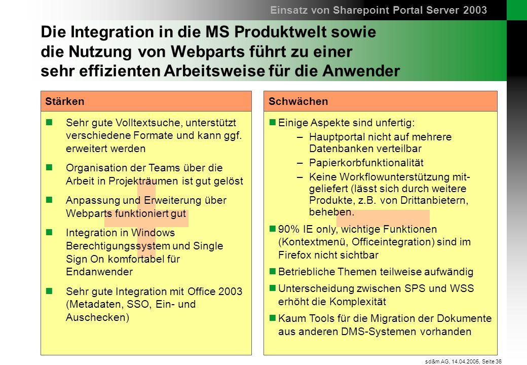 Seite 36 sd&m AG, 14.04.2005, Die Integration in die MS Produktwelt sowie die Nutzung von Webparts führt zu einer sehr effizienten Arbeitsweise für di
