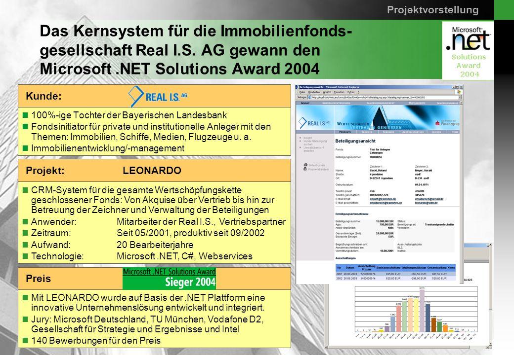 Seite 7 sd&m AG, 14.04.2005, Das Kernsystem für die Immobilienfonds- gesellschaft Real I.S. AG gewann den Microsoft.NET Solutions Award 2004 100%-ige