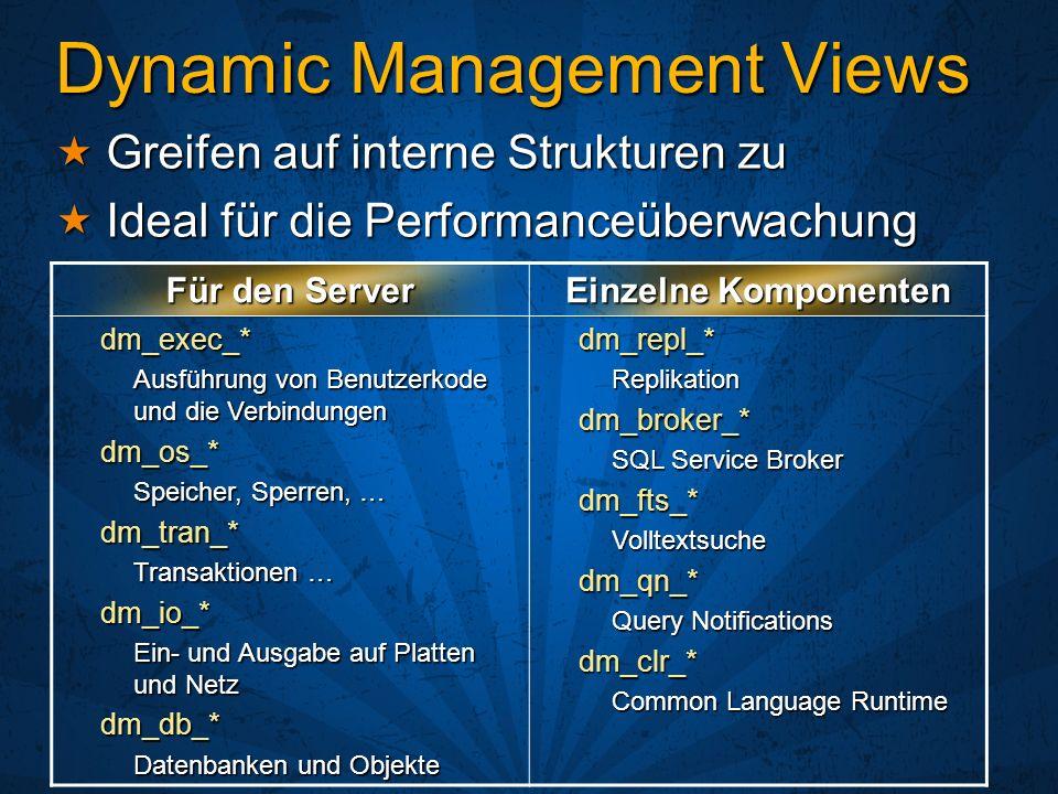 Dynamic Management Views Greifen auf interne Strukturen zu Greifen auf interne Strukturen zu Ideal für die Performanceüberwachung Ideal für die Perfor