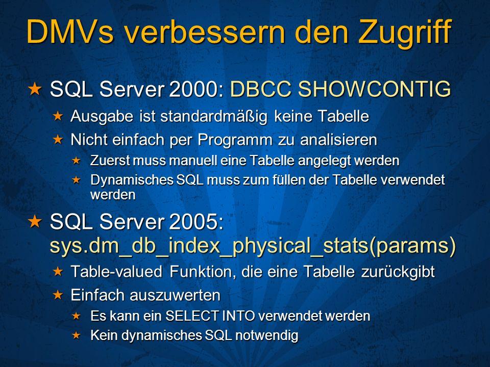 DMVs verbessern den Zugriff SQL Server 2000: DBCC SHOWCONTIG SQL Server 2000: DBCC SHOWCONTIG Ausgabe ist standardmäßig keine Tabelle Ausgabe ist stan