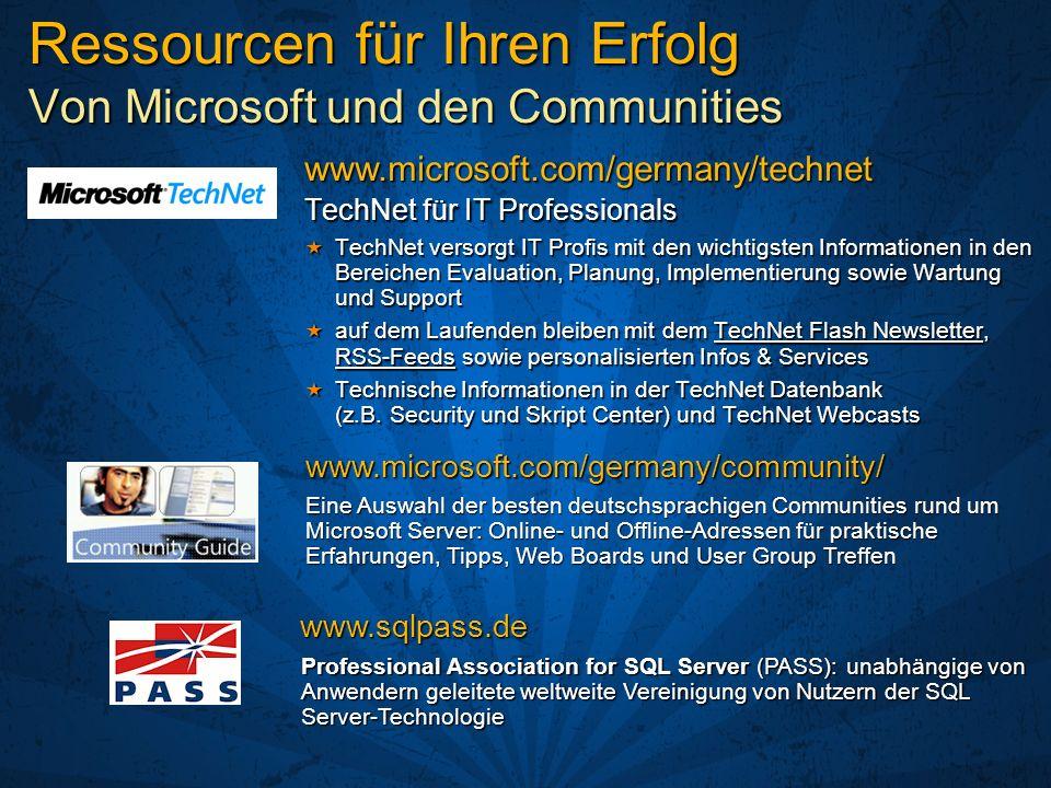 Ressourcen für Ihren Erfolg Von Microsoft und den Communities TechNet für IT Professionals TechNet versorgt IT Profis mit den wichtigsten Informatione