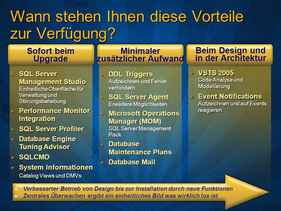 Wann stehen Ihnen diese Vorteile zur Verfügung? DDL Triggers Aufzeichnen und Fehler verhindern DDL Triggers Aufzeichnen und Fehler verhindern SQL Serv