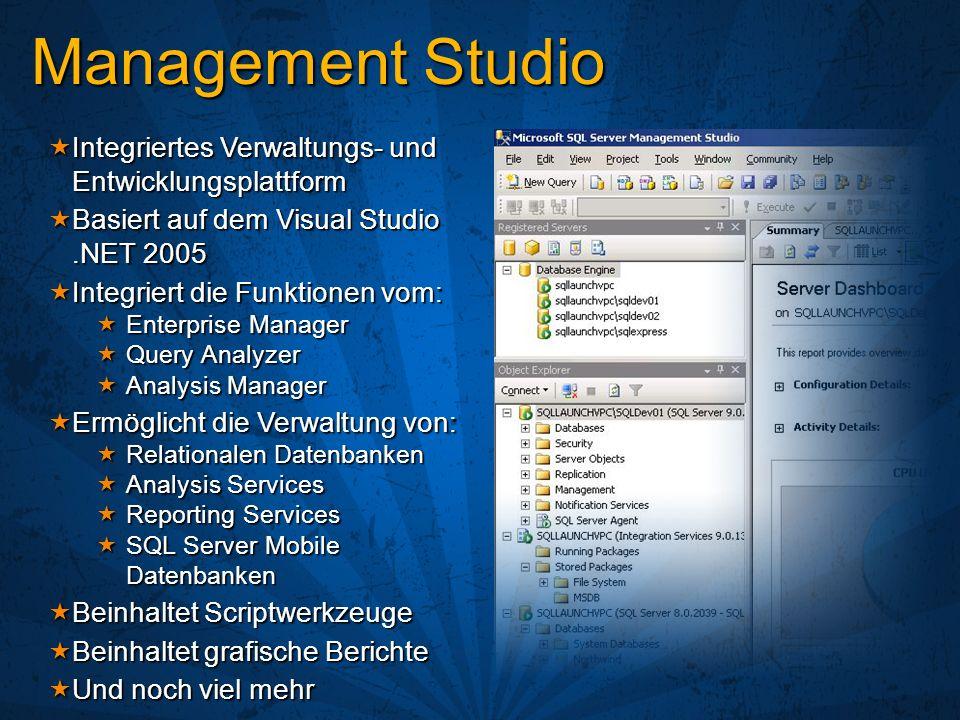 Integriertes Verwaltungs- und Entwicklungsplattform Integriertes Verwaltungs- und Entwicklungsplattform Basiert auf dem Visual Studio.NET 2005 Basiert