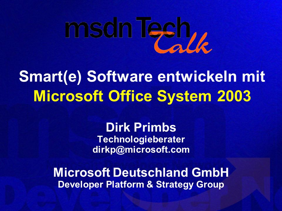 Demo Visual Studio Tools for Office Entwicklung & Deployment