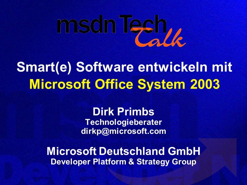 Mehr Office Wissen… 2-tägiges technisches Training: Microsoft Office System: XML, Smart Tags, Smart Documents und Infopath für Developer ( 449,- zzgl.
