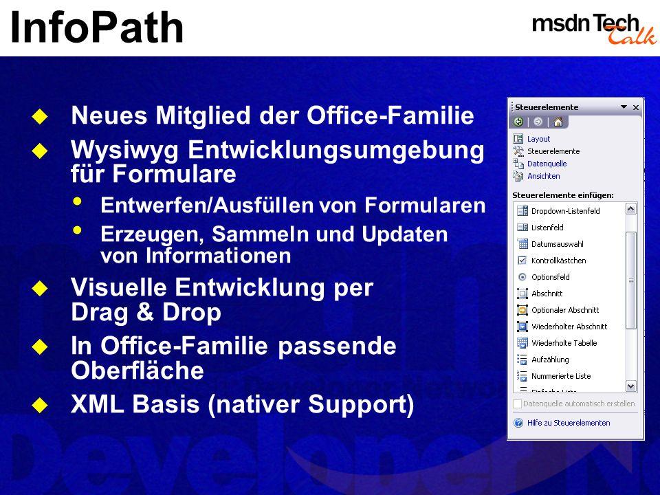 InfoPath Neues Mitglied der Office-Familie Wysiwyg Entwicklungsumgebung für Formulare Entwerfen/Ausfüllen von Formularen Erzeugen, Sammeln und Updaten