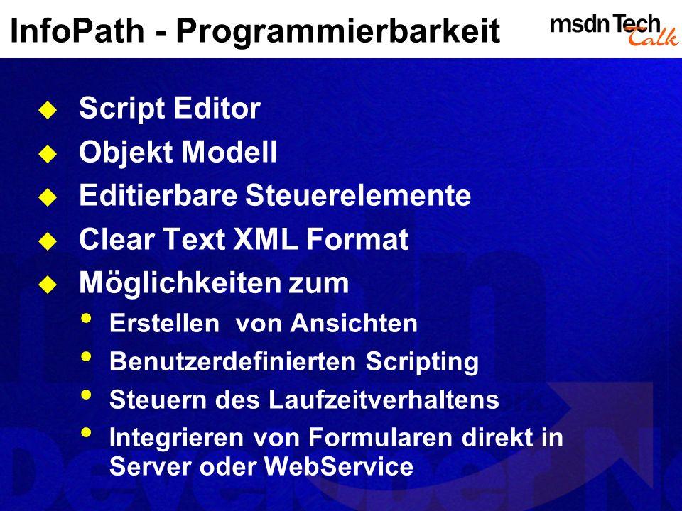 InfoPath - Programmierbarkeit Script Editor Objekt Modell Editierbare Steuerelemente Clear Text XML Format Möglichkeiten zum Erstellen von Ansichten B