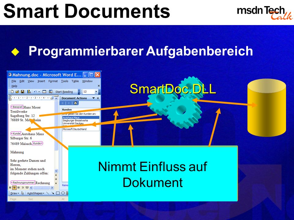Smart Documents Programmierbarer Aufgabenbereich Benutzer navigiert im Dokument, editiert Word informiert externe DLL mittels XML Tags Komponente komm