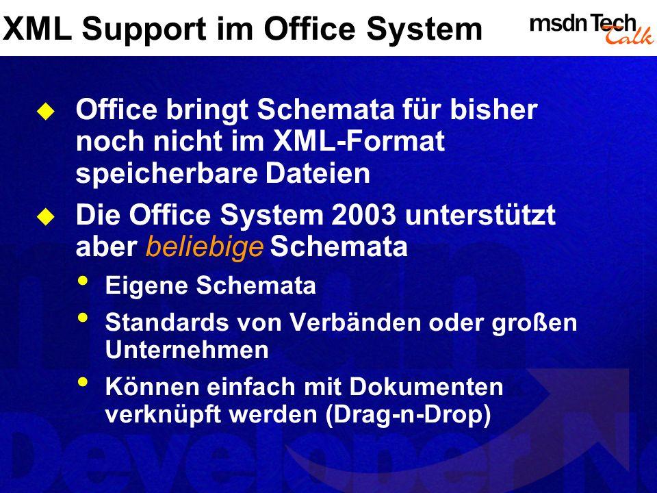 XML Support im Office System XML zur Konfiguration Windows SharePoint Services Manifest-Dateien Definitions-Dateien in InfoPath … XML in Dokumenten Im- / Export in Excel, Word, Access Erstellung von XML Dokumenten mit Infopath Erstellung von Smart Tags mit XML …