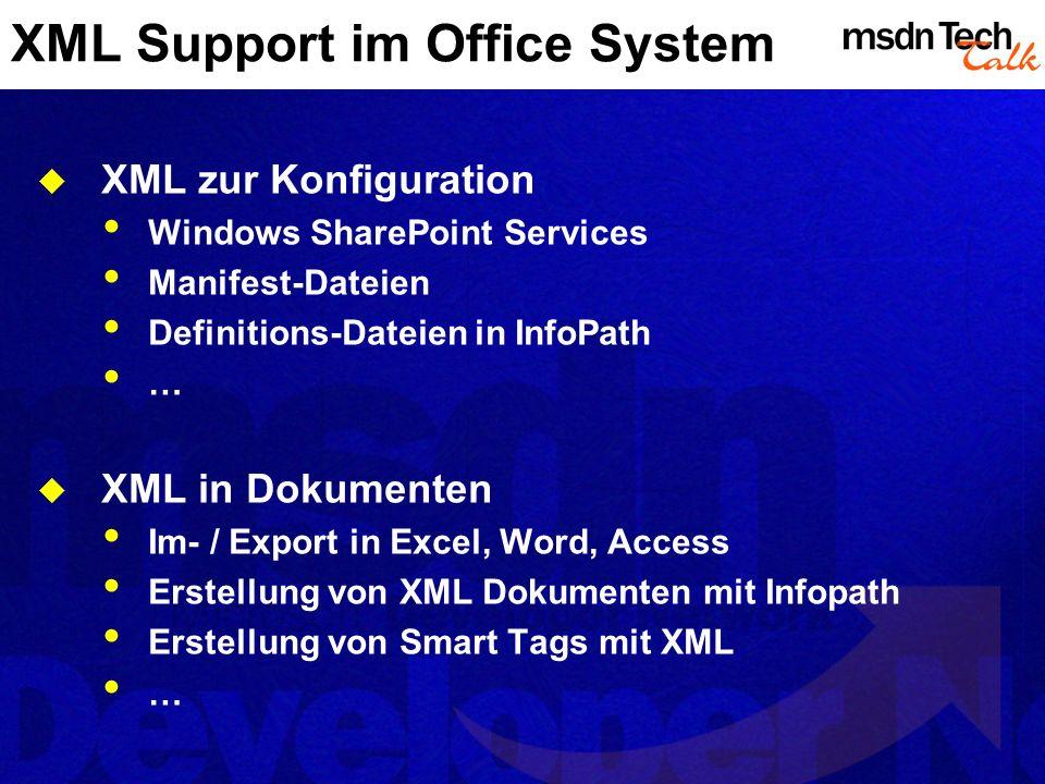 InfoPath Neues Mitglied der Office-Familie Wysiwyg Entwicklungsumgebung für Formulare Entwerfen/Ausfüllen von Formularen Erzeugen, Sammeln und Updaten von Informationen Visuelle Entwicklung per Drag & Drop In Office-Familie passende Oberfläche XML Basis (nativer Support)