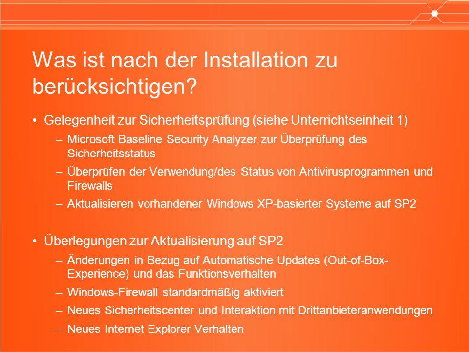 WSC: Benutzererfahrung Warnungen in der TaskleisteWarnungen in Windows-Sicherheitscenter (Systemsteuerung ) Dialogfeld mit Empfehlungen