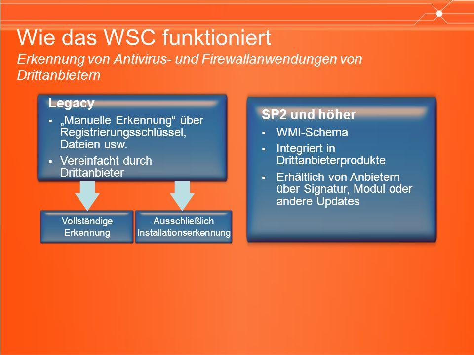 Wie das WSC funktioniert Erkennung von Antivirus- und Firewallanwendungen von Drittanbietern Legacy Manuelle Erkennung über Registrierungsschlüssel, Dateien usw.