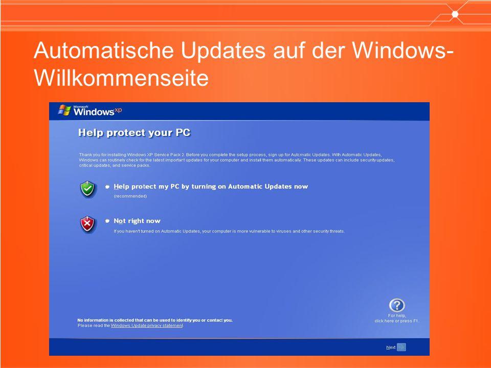 Automatische Updates auf der Windows- Willkommenseite