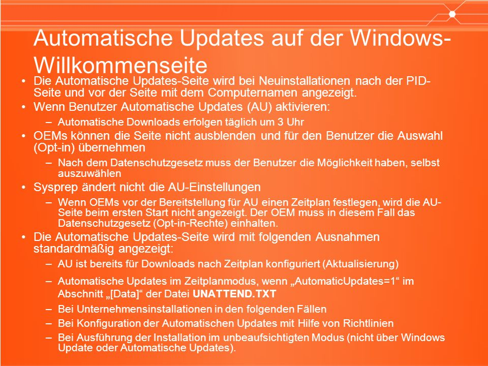 Die Automatische Updates-Seite wird bei Neuinstallationen nach der PID- Seite und vor der Seite mit dem Computernamen angezeigt.