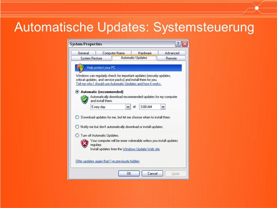 Automatische Updates: Systemsteuerung