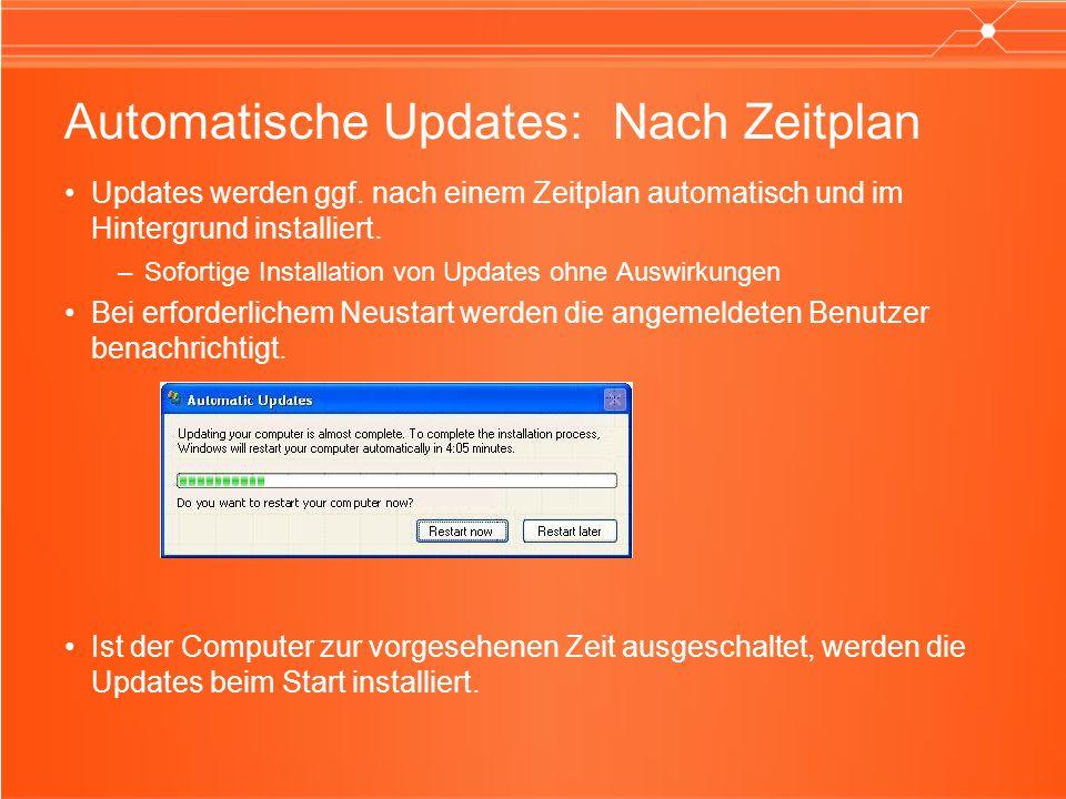 Automatische Updates: Im Unternehmen Unterstützung für Richtlinien über die Registrierung –Automatische Updates konfigurieren, WU-Intranetserver angeben, kein automatischer Neustart, Wartezeit neu festlegen –Automatische Updates erforderlich –Erkennungsfrequenz –Zeitüberschreitung für Neustart und Neustartintervall –Unterstützung für Benutzer ohne Administratorrechte Kompatibel mit dem WU-Intranetdienst (SUS) –Client kompatibel mit V1- und V2-Servern –Fristen für Installationen, Unterstützung für Deinstallationen und nur Suche nach Updates –Mehrere Updates: Vorrangigkeit, Bedingungen –Client aktualisiert sich selbst –Client-APIs