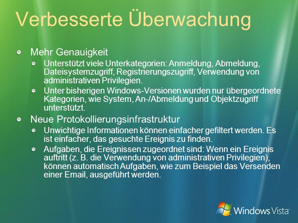 Verbesserte Authentifizierung Plug and Play-Smartcards Treiber und Zertifizierungsanbieter (CSP - Certificate Service Provider) sind in Windows Vista enthalten.