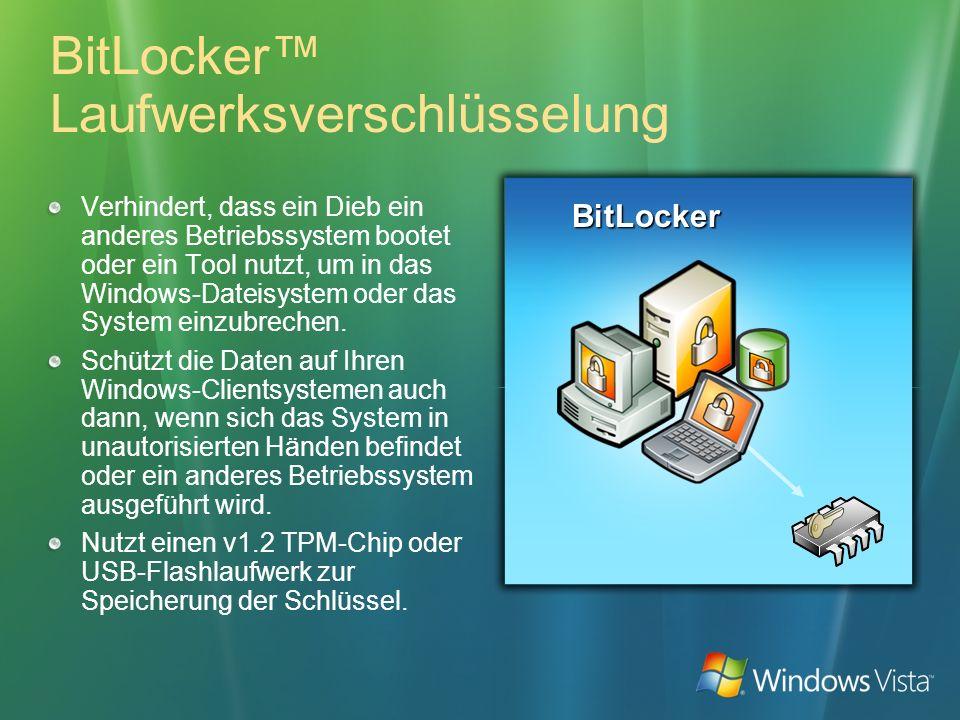 BitLocker Laufwerksverschlüsselung Verhindert, dass ein Dieb ein anderes Betriebssystem bootet oder ein Tool nutzt, um in das Windows-Dateisystem oder