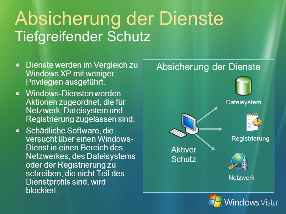 Absicherung der Dienste Absicherung der Dienste Tiefgreifender Schutz Dienste werden im Vergleich zu Windows XP mit weniger Privilegien ausgeführt. Wi