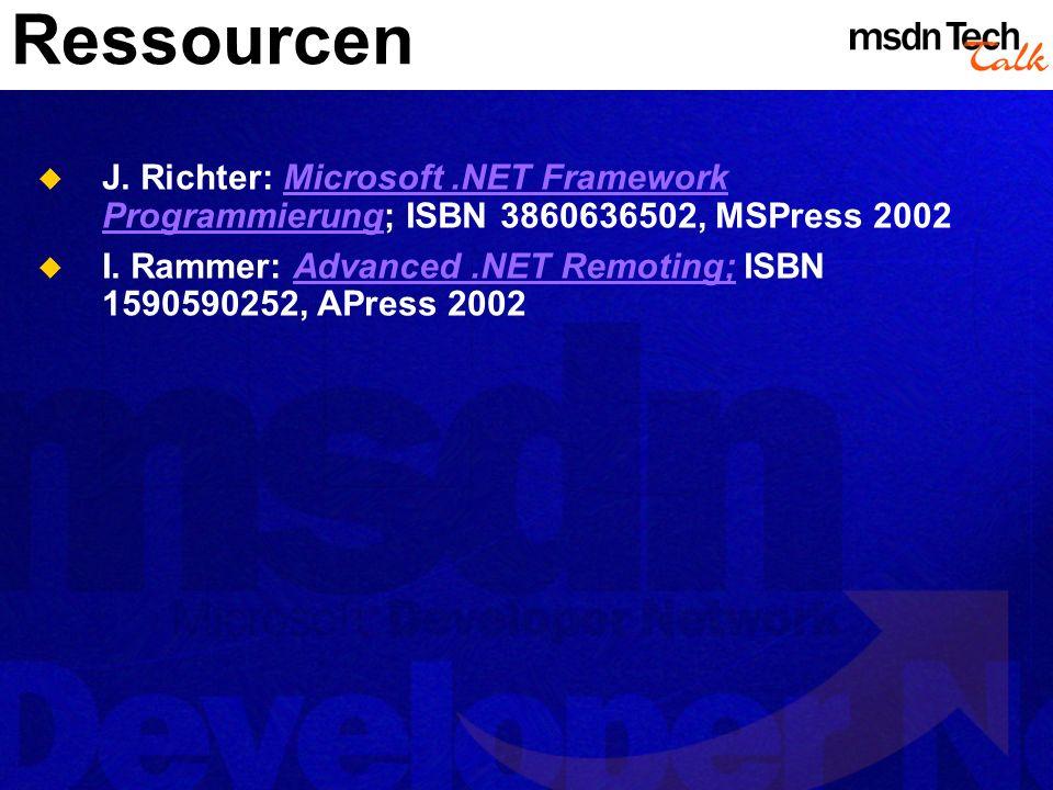 Ressourcen J. Richter: Microsoft.NET Framework Programmierung; ISBN 3860636502, MSPress 2002Microsoft.NET Framework Programmierung I. Rammer: Advanced